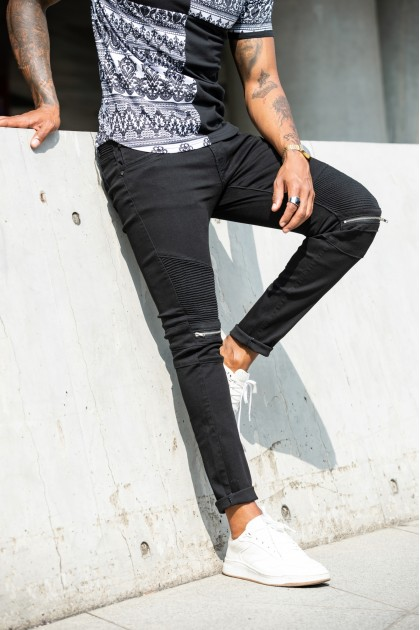 REBEL Zipper Black Jeans