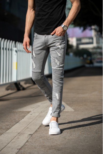 REBEL Grey Skinny Ripped Jeans