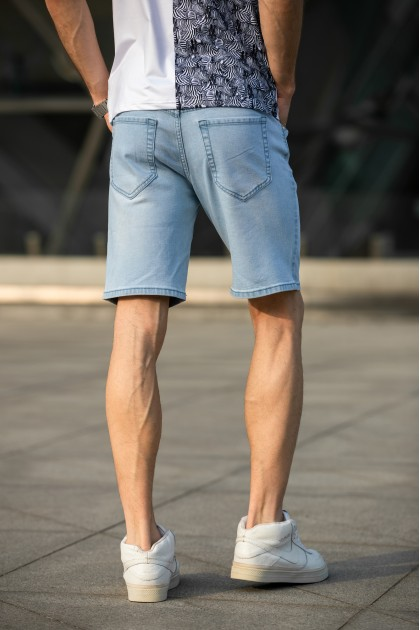 Washed Light Blue Ripped Shorts