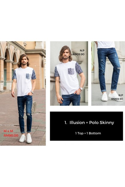 [MxM] Illusion & Polo Skinny Jeans