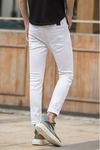 Rebel Zipper White Jeans