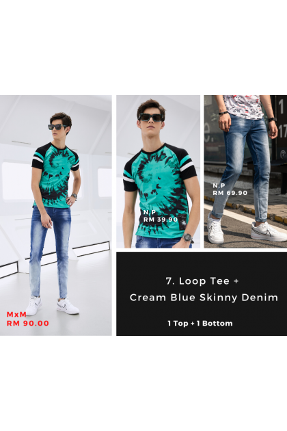 [MxM] Loop & Cream Blue Skinny Denim