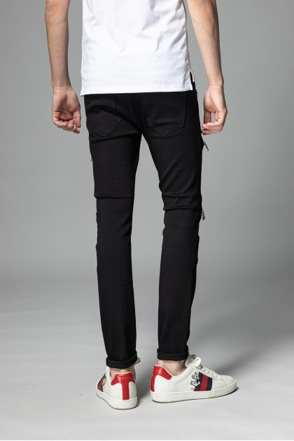 REBEL Two Zipper Black Jeans