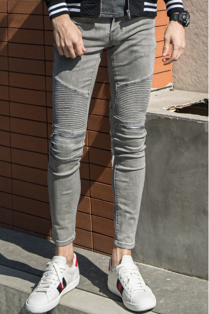 REBEL Zipper Grey Jeans